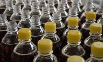 Rows of plastic bottles